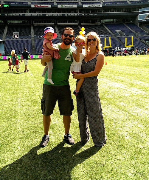 Having fun playing on the Seahawks field