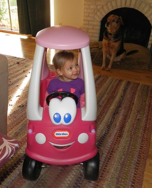 Ava in her car