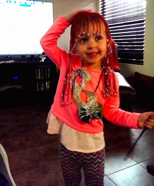 Ava and her funny headdress