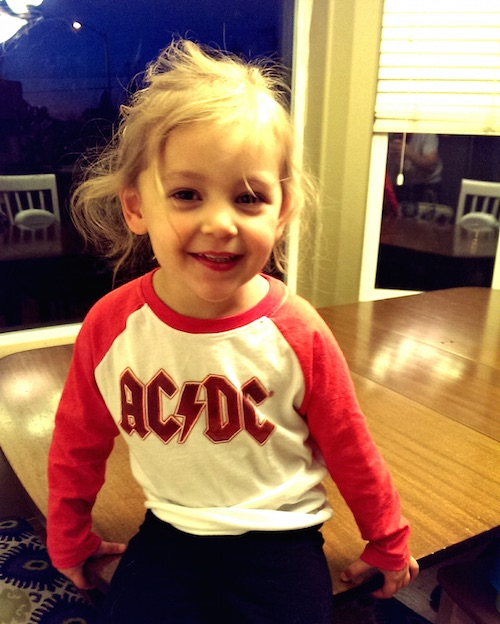 Ava in her AC/DC shirt