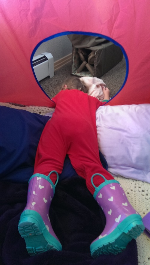 Ava napping in her tent on Christmas morning