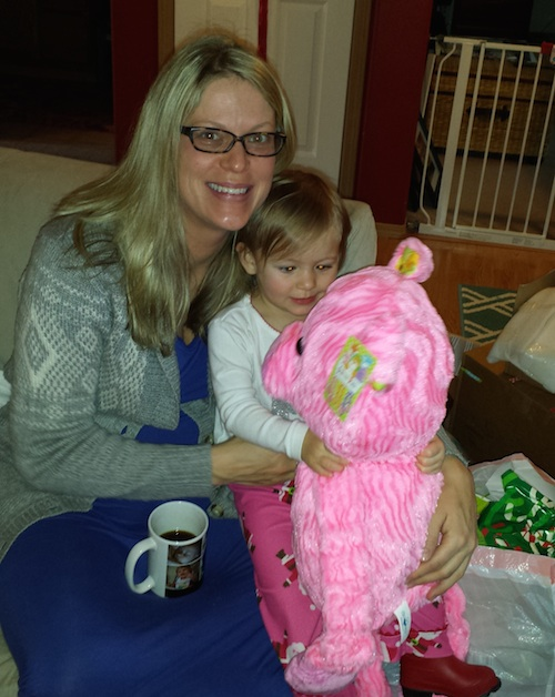 Mommy and Elise checking out the new pink pig