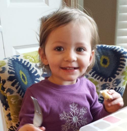 Elise having breakfast