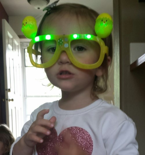 Elise in her Easter Bunny glasses