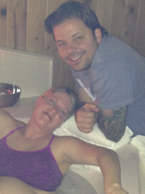 Laboring in the tub a couple hours before Enzo's birth