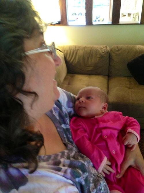 Aunt Brenda holding Elise