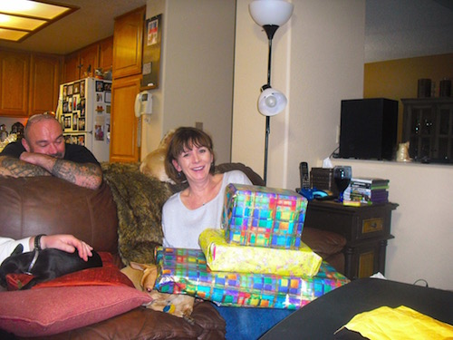 Mom opening presents
