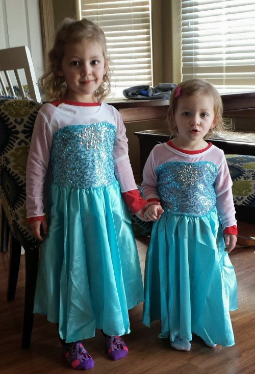The girls in their new Elsa dresses