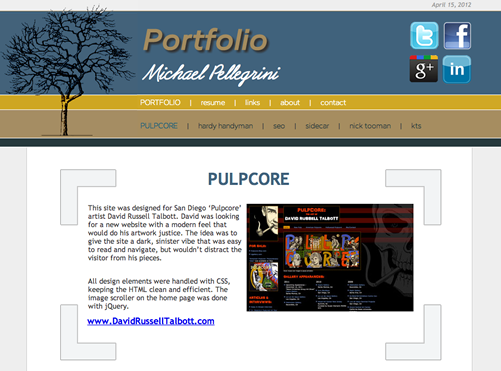 New portfolio website for Michael Pellegrini